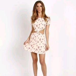 For love and lemons cherry print side cut out mini